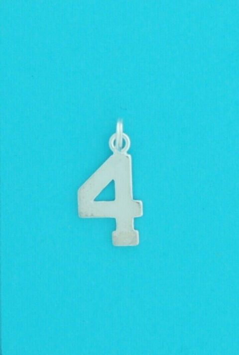 Genuine 925 Sterling Silver 13mm Number Four Charm Pendant